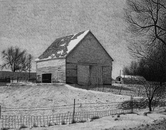 Corn Crib Drawing
